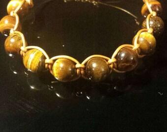 Gold Leather Macrame Bracelets