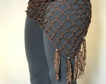 Crocheted Bellydance Hip Scarf- Copper