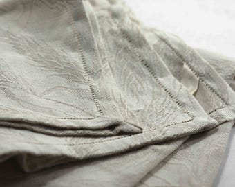 Cotton linen tea towel | Smoke and light grey jacquard fabric | Handmade Tea towel | Made in Italy