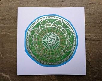 Green and sliver mandala linocut greetings card