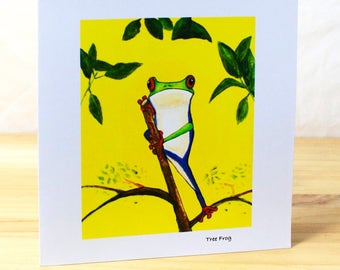 Tree Frog: Greeting card, quality reproduction of an original painting, (Free Post anywhere in the UK).