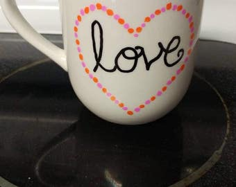 Decorated Mug-Love mug- dot mug- sharpie mug- love