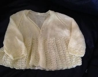 A vintage hand knitted Lacey baby sweater, soft yellow baby gift, baby shower gift, birthday gift, cardigan for baby, Christmas gift