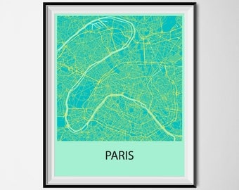 Paris Map Poster Print - Blue and Yellow