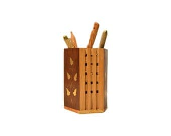 Inkredible Indien Wooden Pen Pencil Holder Stand for Office & Home Desk Brass Handcraft from India 10*7 cm