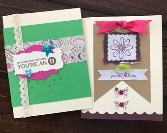 Set of five greeting cards