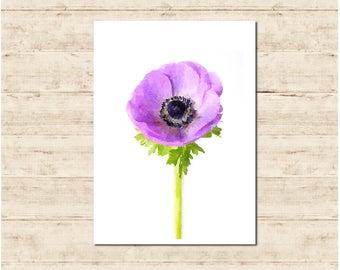 Purple Flower Watercolour Painting Postcard Poster Art Print Q54