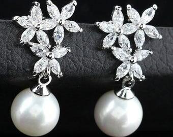 Pearl and crystal flower bridal drop earrings
