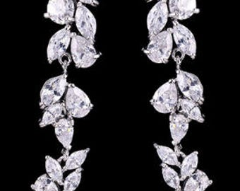 Crystal pear and marquise bridal drop earrings