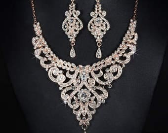 Rose gold crystal bridal necklace and earrings