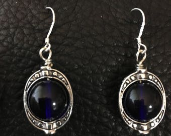 Stunning Cobalt and Silver Earrings