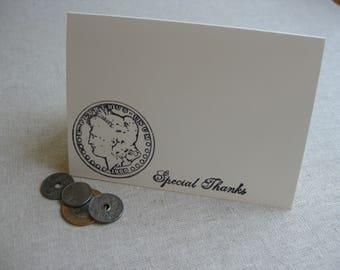 6 Handmade Silver Coin blank notecard set