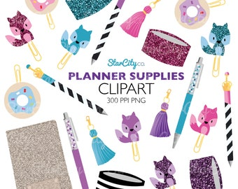 Planner clipart, Planner girl clipart, Crystal Pen clipart, Washi tape clipart, Tassel clipart, Donut clip clipart, Paperclip clipart