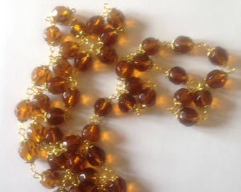 Long topaz crystal glass necklace flapper necklace long necklace Beaded necklace crystal necklace brown necklace