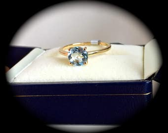 """Aquamarine Ring 9ct Yellow Gold Size N 1/2 - """"Certified SI 1.15ct""""  - Fab Colour!"""