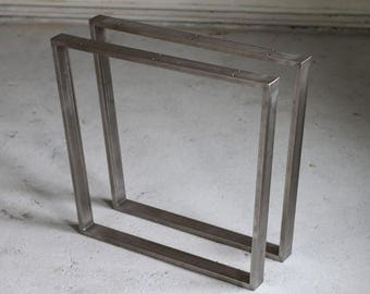 2 x 72cm U-form Table Legs, 60x20 mm Stainless Steel