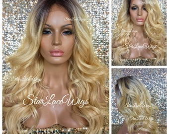 Long Curly Golden Blonde Lace Front Wig - Human Hair Blend - Layers - Dark Roots - Swiss Lace - Heat Resistant Safe