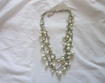 Vintage Designer  T Triple Strand Silver Tone & Faux Glass Pearl Fancy Ladies Necklace