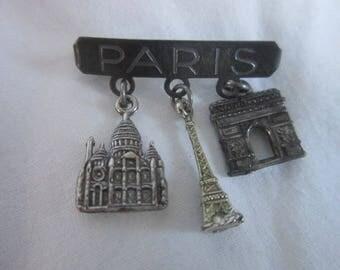 Antique Silver Souvenier Paris France Charm Brooch