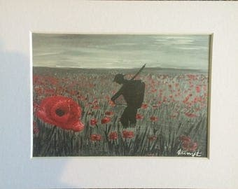 Poppy field with soldier mounted print
