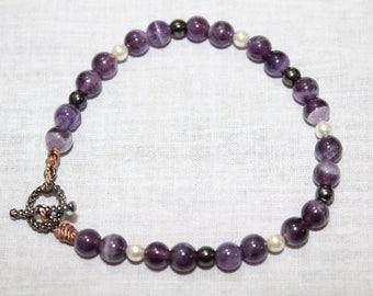 Handmade bracelet amethyst, pearl, and hematite semiprecious