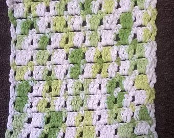 Crochet multicolored green and white dishcloth