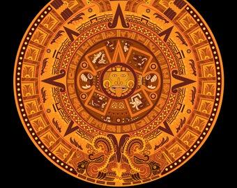 Aztec Calendar in New Orange