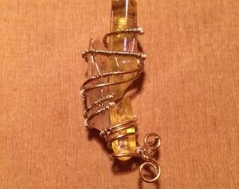 Tangerine and yellow quartz wire wrap