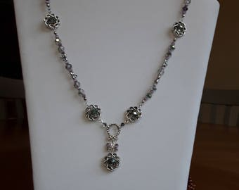 Silver and purple dragonfly necklace