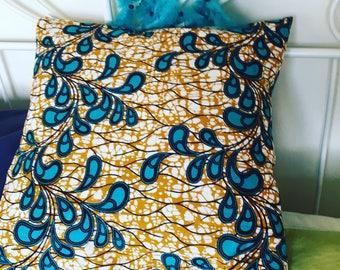"Cushion cover, 40x40cm (16""x16""), beige,  aqua, leaves"