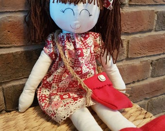 "Large Handmade 20"" Rag Doll - Brown Hair"