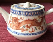 Vintage Hand Painted Japanese Teapot with beautiful Dragons