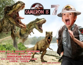 Jurassic Park invitation, boy being chased by dinosaur, dinosaur invitation, Jurassic World Party Invitation, Dinosaur chasing boy