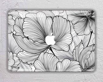 Lily drawing macbook skin bohemian macbook decal flower macbook sticker leafs macbook cover leaf macbook pro skin macbook air 13  FSM089