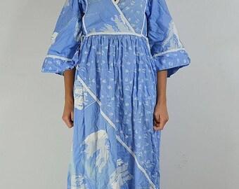 BOHO maxi dress, blue dress, Hippie dress, Vintage 70s