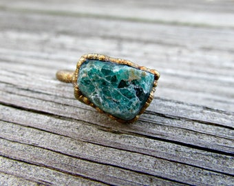 Raw blue apatite ring, raw gemstone electroformed ring, electroformed copper ring, copper statement ring, something blue for bride
