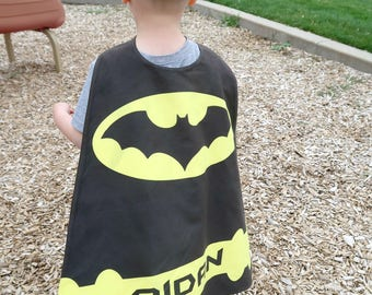 Bat - Yellow  Personalized Superhero Cape. Batman Superhero party.  Boys Birthday. Dress Up.  Pretend Play. Photo Prop. Imaginary play.