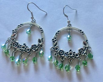 Silver Green Chandelier Dangly Earrings with Swarovski Crystals On Sterling Silver Ear wires.