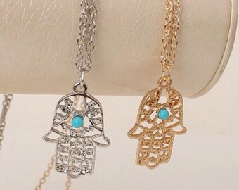 Gold or Silver Hamsa Hand of Fatima Healing Hand Necklace on an 18 Inch Chain