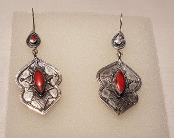 Tribal Earrings, Dangling Afghan Kuchi Tribal Earrings with Red Stones