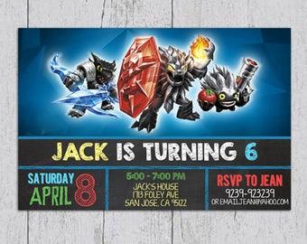 Skylanders Dark Edition TrapTeam Chalkboard Birthday Invitation, Skylanders, Skylanders Birthday, Skylanders Invitation, Skylanders Party