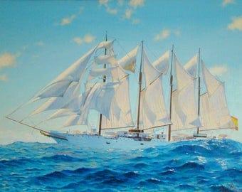 BarquentineJuanSebastianElcanoSpain,oil,canvas on cardboard,seascape,realism,sailboat,artist Konstantin Razumeyko