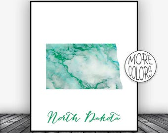 North Dakota Art North Dakota Print North Dakota Map Art Map Print  Marble Decor Office Decor Office Poster ArtPrintsZoe Christmas Gifts