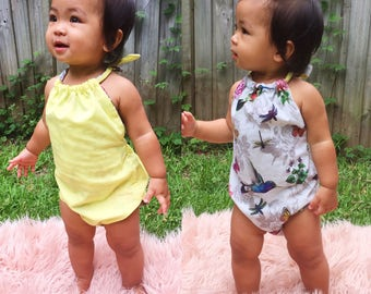 Reversible Romper with Matching Hair Clip in Moana