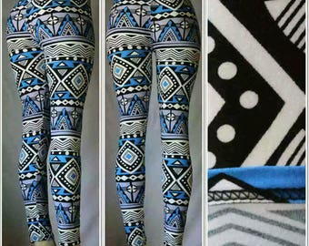 Blue and Gray/Purple Mix Aztec Print Leggings