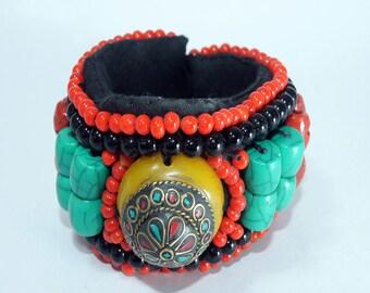 Tibetan flower eyed multi gemstone bracelet