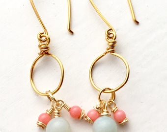Amazonite and coral drop earrings