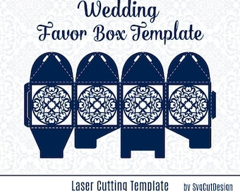 Lace Wedding Favor Box Template Laser cutting Commercial Use Candy Gift Party Box SVG Lasercut Laser Cut Silhouette Cameo die cutting files