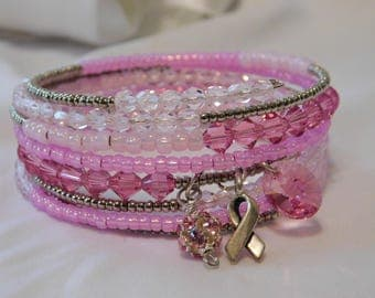 Go Pink Breast Cancer Awareness Wrap Bracelet