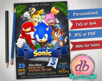 Sonic Invitation, Sonic Birthday Party, Hedgehog, Sonic the Hedgehog, Game, Cartoon, Personalized, Printable, Chalkboard, Digital File
